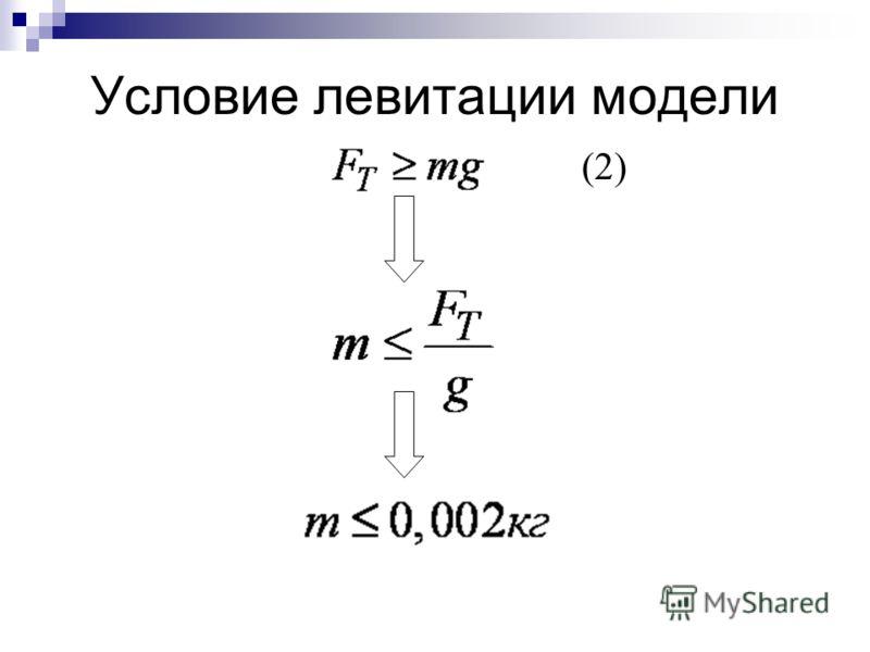 Условие левитации модели (2)