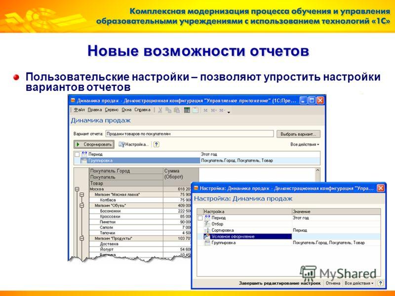 Новые возможности отчетов Пользовательские настройки – позволяют упростить настройки вариантов отчетов