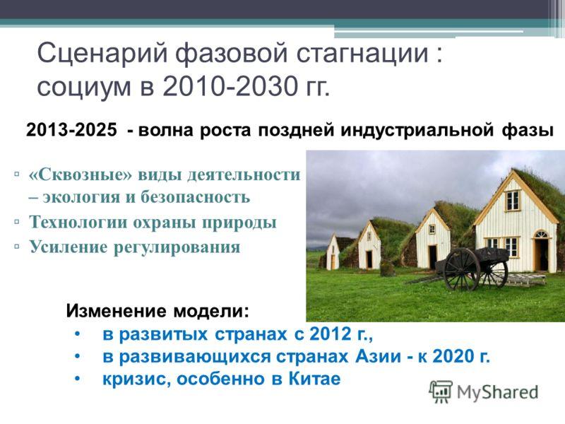 Сценарий фазовой стагнации : социум в 2010-2030 гг. « Сквозные » виды деятельности – экология и безопасность Технологии охраны природы Усиление регулирования Изменение модели: в развитых странах с 2012 г., в развивающихся странах Азии - к 2020 г. кри