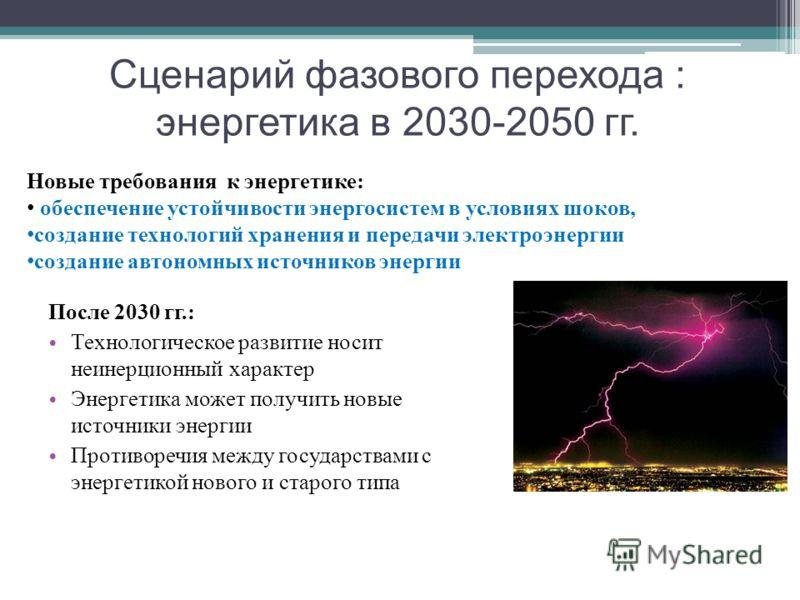 Сценарий фазового перехода : энергетика в 2030-2050 гг. После 2030 гг.: Технологическое развитие носит неинерционный характер Энергетика может получить новые источники энергии Противоречия между государствами с энергетикой нового и старого типа Новые
