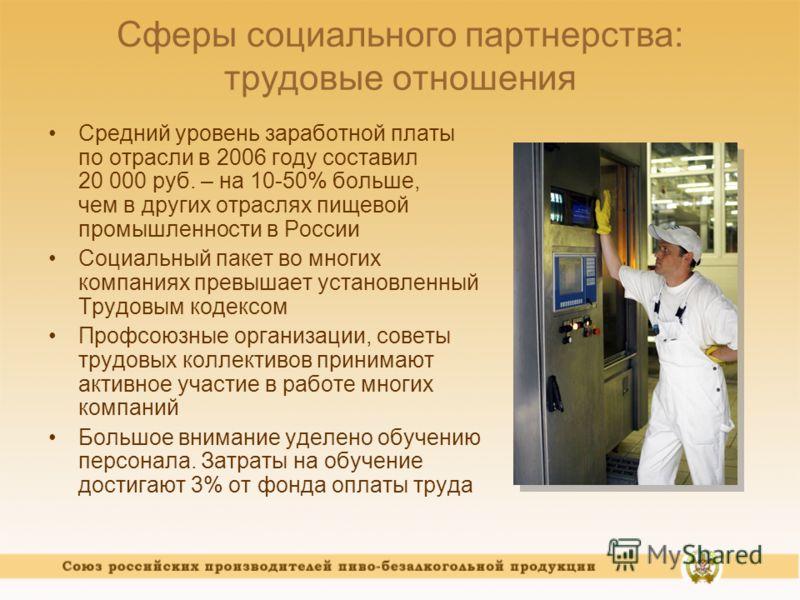 Сферы социального партнерства: трудовые отношения Средний уровень заработной платы по отрасли в 2006 году составил 20 000 руб. – на 10-50% больше, чем в других отраслях пищевой промышленности в России Социальный пакет во многих компаниях превышает ус