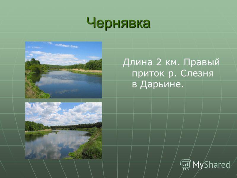Чернявка Длина 2 км. Правый приток р. Слезня в Дарьине.