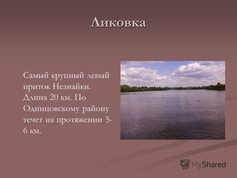 Ликовка Самый крупный левый приток Незнайки. Длина 20 км. По Одинцовскому району течет на протяжении 5- 6 км.