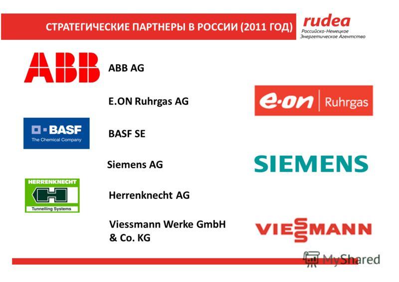 ABB AG E.ON Ruhrgas AG BASF SE Siemens AG Viessmann Werke GmbH & Co. KG Herrenknecht AG 9 СТРАТЕГИЧЕСКИЕ ПАРТНЕРЫ В РОССИИ (2011 ГОД)