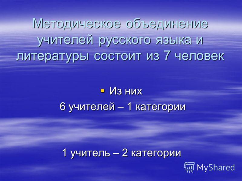 Методическое объединение учителей русского языка и литературы состоит из 7 человек Из них Из них 6 учителей – 1 категории 6 учителей – 1 категории 1 учитель – 2 категории