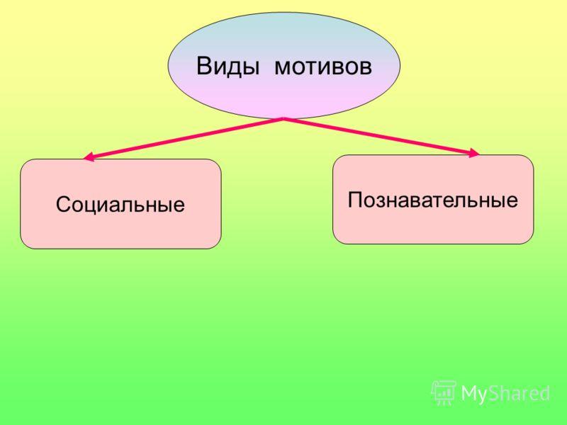 Виды мотивов Социальные Познавательные