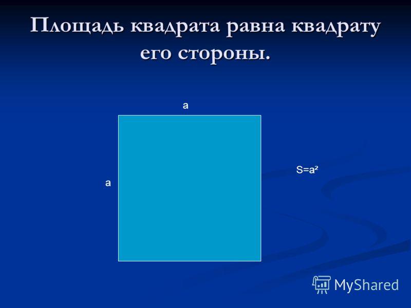 Площадь квадрата равна квадрату его стороны. а а S=a²