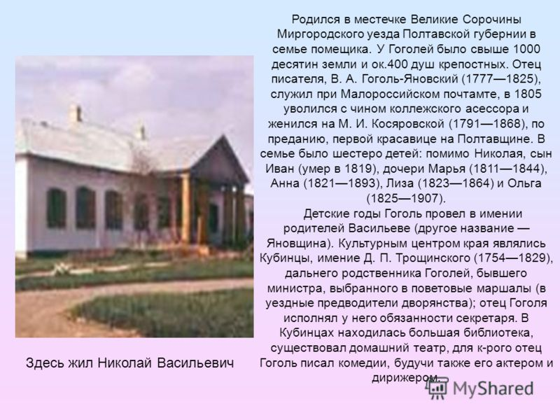 Родился в местечке Великие Сорочины Миргородского уезда Полтавской губернии в семье помещика. У Гоголей было свыше 1000 десятин земли и ок.400 душ крепостных. Отец писателя, В. А. Гоголь-Яновский (17771825), служил при Малороссийском почтамте, в 1805