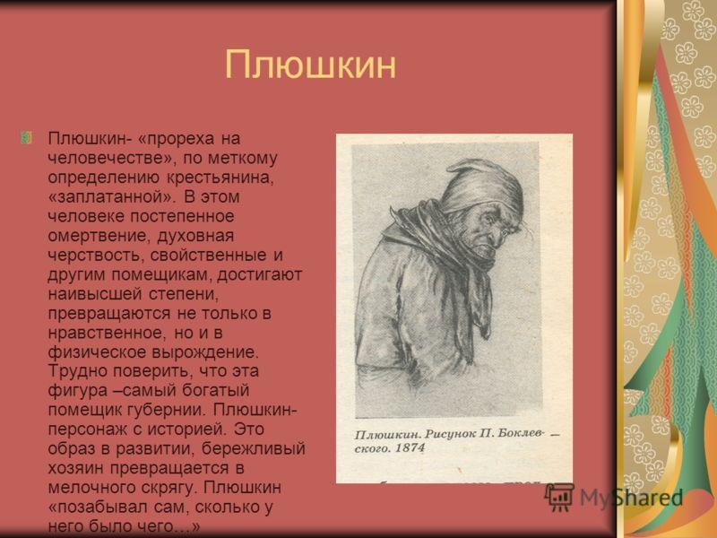 Плюшкин Плюшкин- «прореха на человечестве», по меткому определению крестьянина, «заплатанной». В этом человеке постепенное омертвение, духовная черствость, свойственные и другим помещикам, достигают наивысшей степени, превращаются не только в нравств