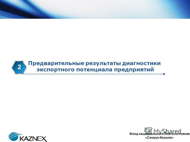 www.themegallery.com Company Logo Предварительные результаты диагностики экспортного потенциала предприятий 2 Фонд национального благосостояния «Самрук-Казына»