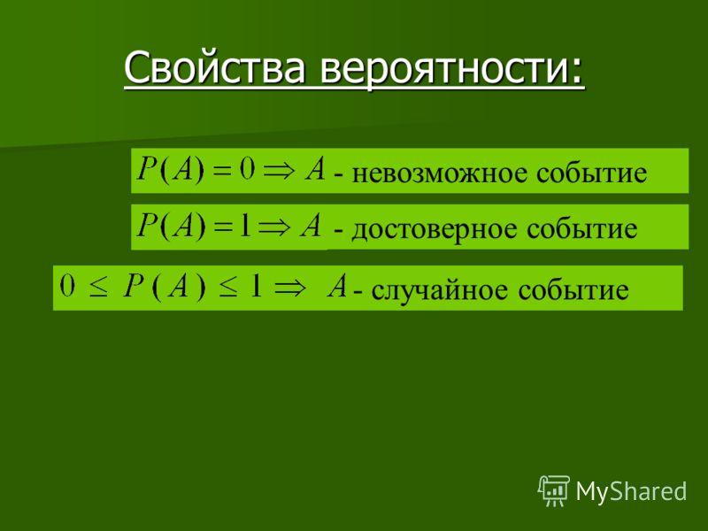 Свойства вероятности: - невозможное событие - достоверное событие - случайное событие