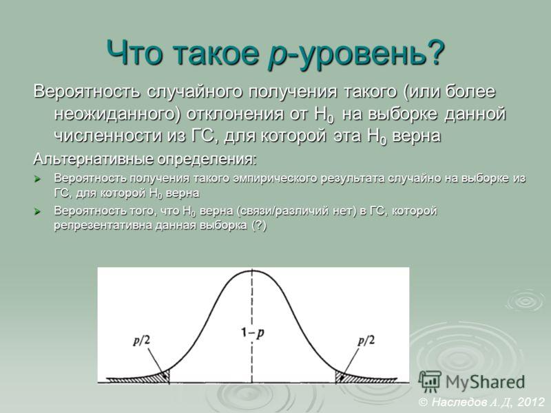 Что такое p-уровень? Вероятность случайного получения такого (или более неожиданного) отклонения от Н 0 на выборке данной численности из ГС, для которой эта Н 0 верна Альтернативные определения: Вероятность получения такого эмпирического результата с