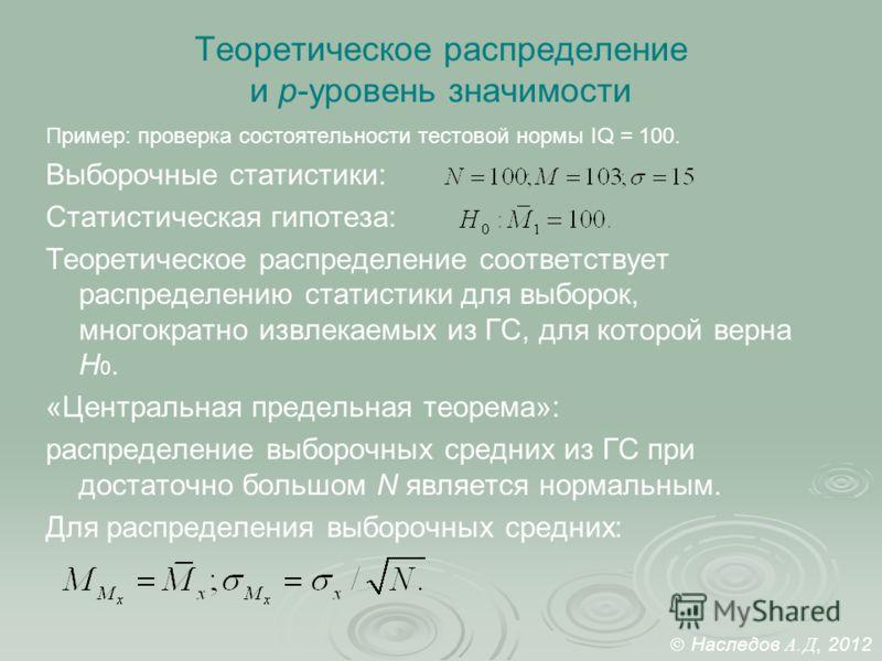 Теоретическое распределение и p-уровень значимости Пример: проверка состоятельности тестовой нормы IQ = 100. Выборочные статистики: Статистическая гипотеза: Теоретическое распределение соответствует распределению статистики для выборок, многократно и