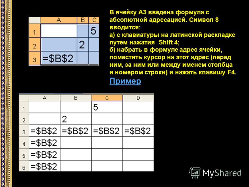 В ячейку А3 введена формула с абсолютной адресацией. Символ $ вводится: а) с клавиатуры на латинской раскладке путем нажатия Shift 4; б) набрать в формуле адрес ячейки, поместить курсор на этот адрес (перед ним, за ним или между именем столбца и номе