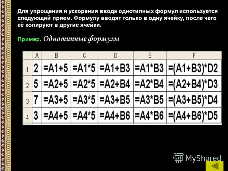 Для упрощения и ускорения ввода однотипных формул используется следующий прием. Формулу вводят только в одну ячейку, после чего её копируют в другие ячейки. Пример. Однотипные формулы