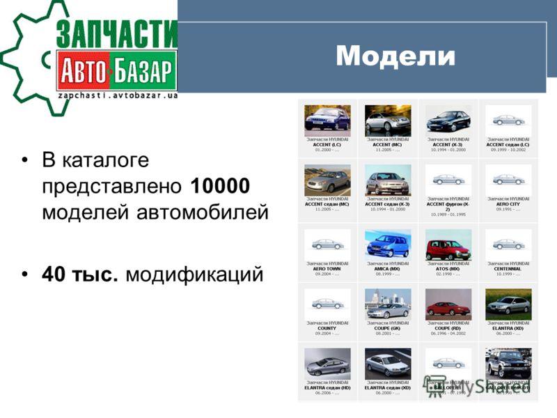 Модели В каталоге представлено 10000 моделей автомобилей 40 тыс. модификаций