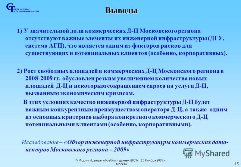 IV Форум «Центры обработки данных-2009», 25 Ноября 2009 г., Москва 15 Выводы 1) У значительной доли коммерческих Д-Ц Московского региона отсутствуют важные элементы их инженерной инфраструктуры (ДГУ, система АГП), что является одним из факторов риско