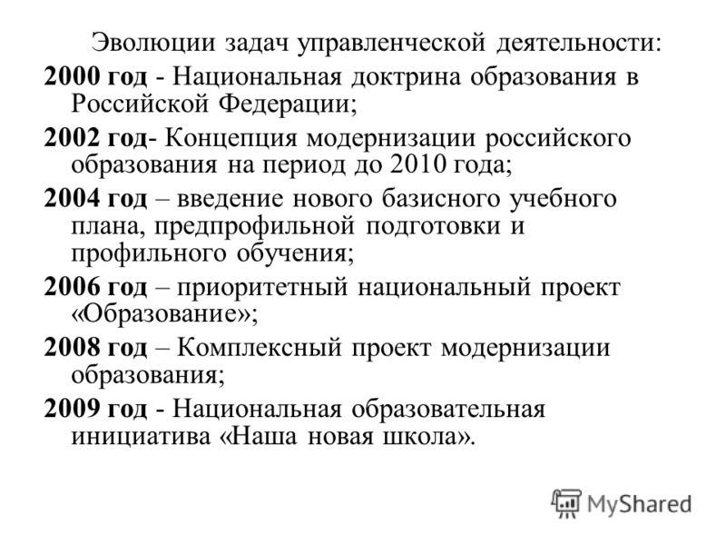 Эволюции задач управленческой деятельности: 2000 год - Национальная доктрина образования в Российской Федерации; 2002 год- Концепция модернизации российского образования на период до 2010 года; 2004 год – введение нового базисного учебного плана, пре