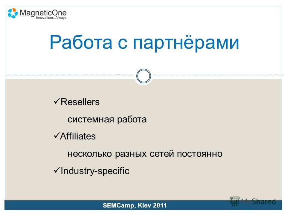 Resellers системная работа Affiliates несколько разных сетей постоянно Industry-specific SEMCamp, Kiev 2011 Работа с партнёрами