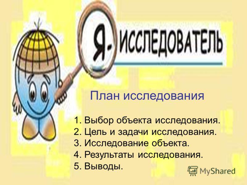 План исследования 1. Выбор объекта исследования. 2. Цель и задачи исследования. 3. Исследование объекта. 4. Результаты исследования. 5. Выводы.