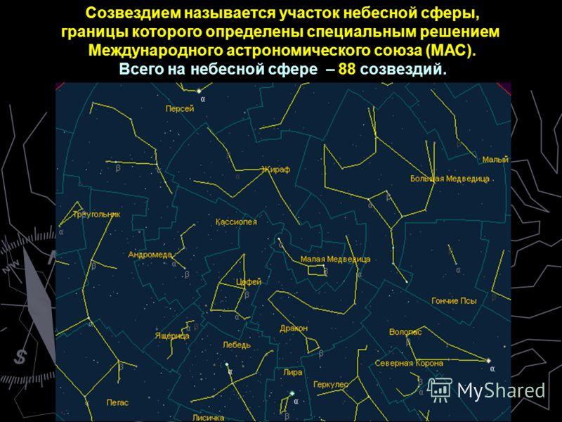Созвездием называется участок небесной сферы, границы которого определены специальным решением Международного астрономического союза (МАС). Всего на небесной сфере – 88 созвездий.