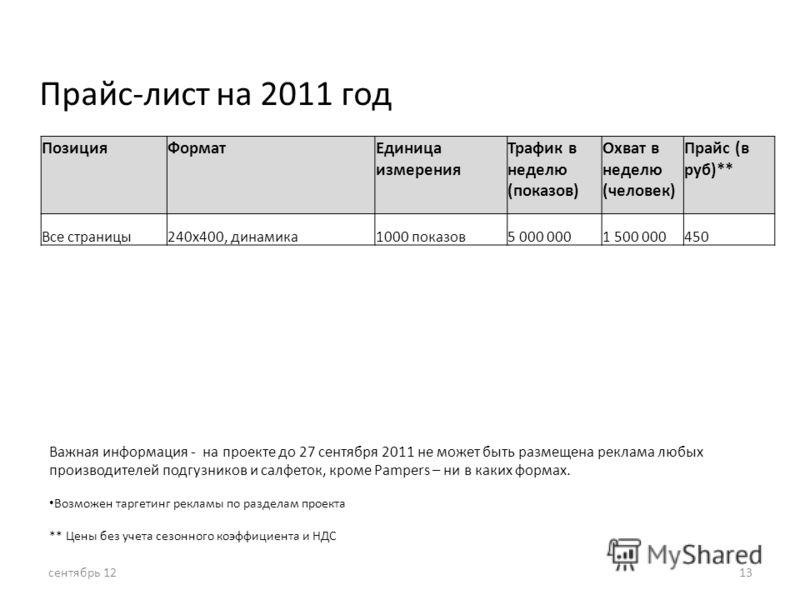 Прайс-лист на 2011 год ПозицияФорматЕдиница измерения Трафик в неделю (показов) Охват в неделю (человек) Прайс (в руб)** Все страницы240x400, динамика1000 показов5 000 0001 500 000450 Важная информация - на проекте до 27 сентября 2011 не может быть р
