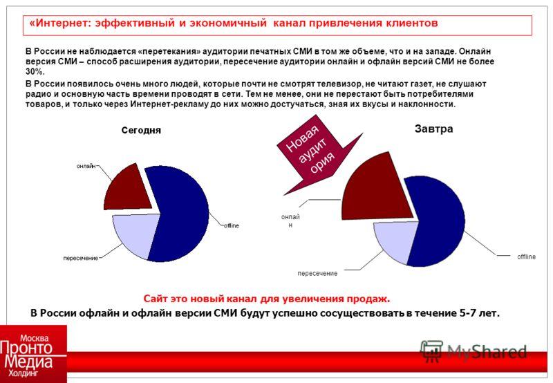 В России не наблюдается «перетекания» аудитории печатных СМИ в том же объеме, что и на западе. Онлайн версия СМИ – способ расширения аудитории, пересечение аудитории онлайн и офлайн версий СМИ не более 30%. В России появилось очень много людей, котор