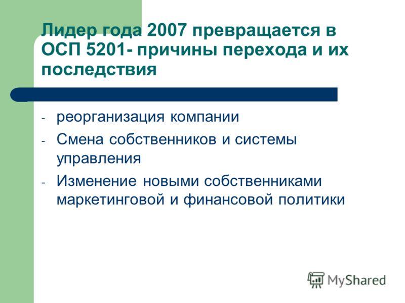 Лидер года 2007 превращается в ОСП 5201- причины перехода и их последствия - реорганизация компании - Смена собственников и системы управления - Изменение новыми собственниками маркетинговой и финансовой политики