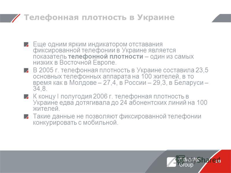 18 Телефонная плотность в Украине Еще одним ярким индикатором отставания фиксированной телефонии в Украине является показатель телефонной плотности – один из самых низких в Восточной Европе. В 2005 г. телефонная плотность в Украине составила 23,5 осн