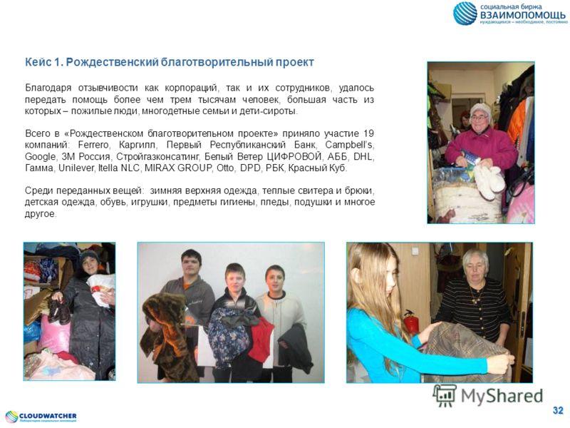 Кейс 1. Рождественский благотворительный проект Благодаря отзывчивости как корпораций, так и их сотрудников, удалось передать помощь более чем трем тысячам человек, большая часть из которых – пожилые люди, многодетные семьи и дети-сироты. Всего в «Ро