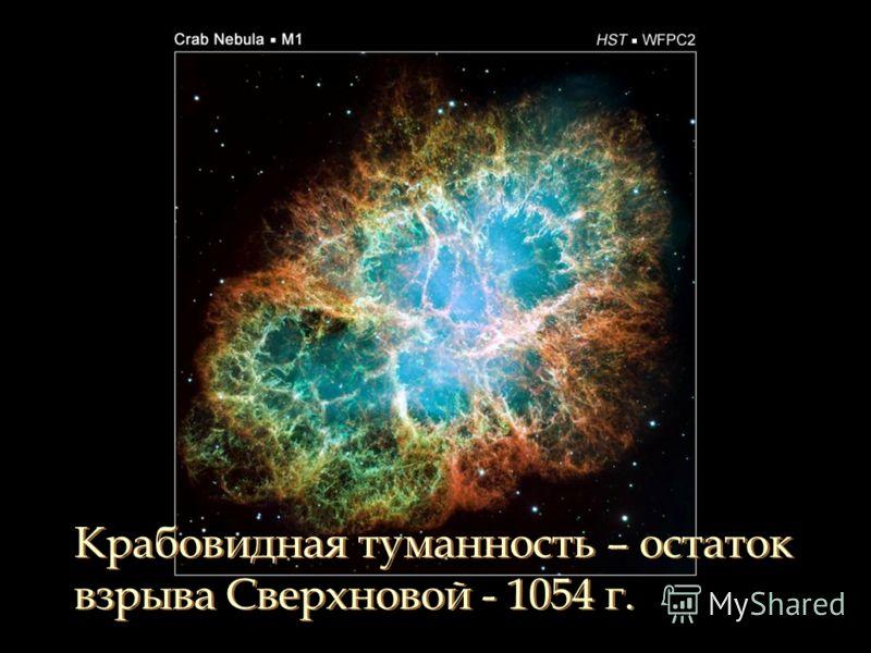 Крабовидная туманность – остаток взрыва Сверхновой - 1054 г. Крабовидная туманность – остаток взрыва Сверхновой - 1054 г.