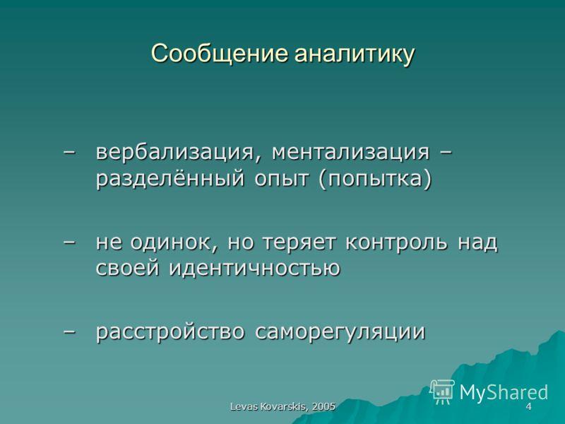 Levas Kovarskis, 2005 4 Сообщение аналитику –вербализация, ментализация – разделённый опыт (попытка) –не одинок, но теряет контроль над своей идентичностью –расстройство саморегуляции