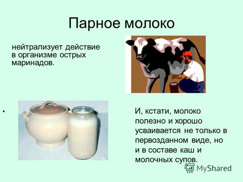 Парное молоко И, кстати, молоко полезно и хорошо усваивается не только в первозданном виде, но и в составе каш и молочных супов. нейтрализует действие в организме острых маринадов.
