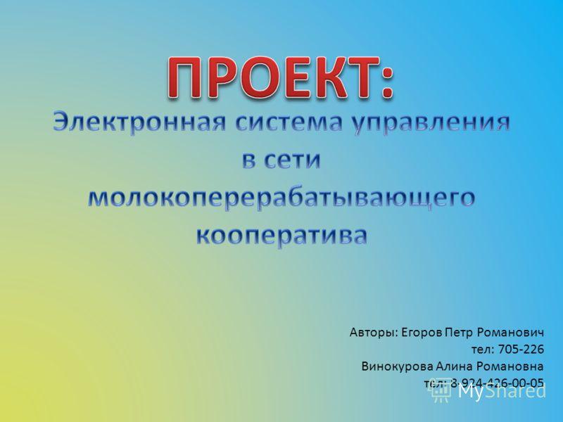 Авторы: Егоров Петр Романович тел: 705-226 Винокурова Алина Романовна тел: 8-924-426-00-05
