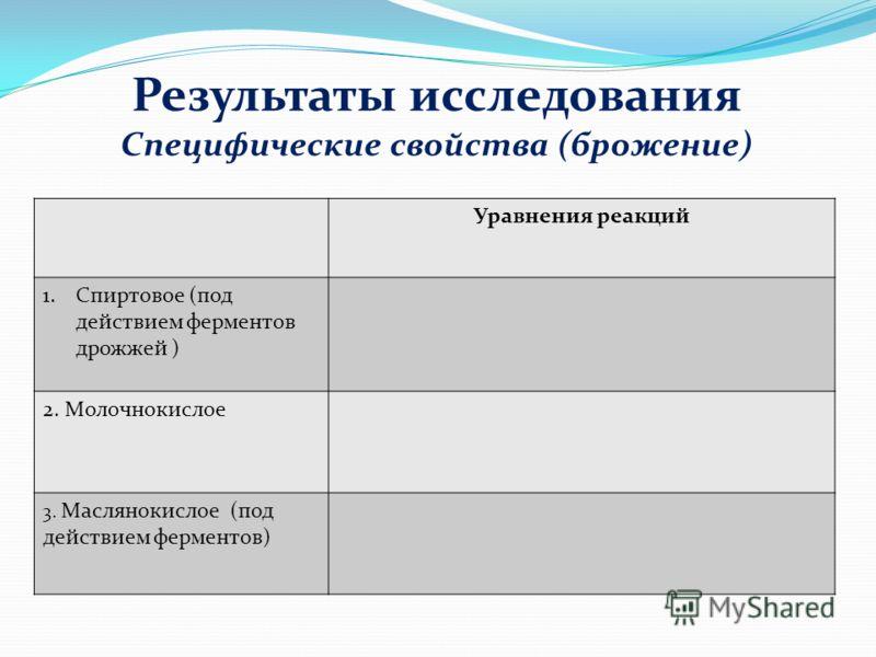 Уравнения реакций 1.Спиртовое (под действием ферментов дрожжей ) 2. Молочнокислое 3. Маслянокислое (под действием ферментов) Специфические свойства (брожение) Результаты исследования