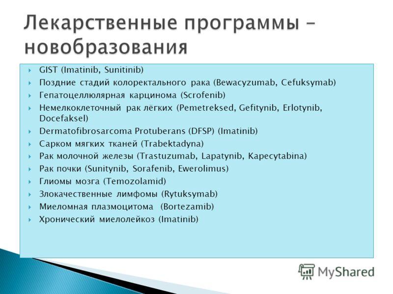 GIST (Imatinib, Sunitinib) Поздние стадий колоректального рака (Bewacyzumab, Cefuksymab) Гепатоцеллюлярная карцинома (Scrofenib) Немелкоклеточный рак лёгких (Pemetreksed, Gefitynib, Erlotynib, Docefaksel) Dermatofibrosarcoma Protuberans (DFSP) (Imati