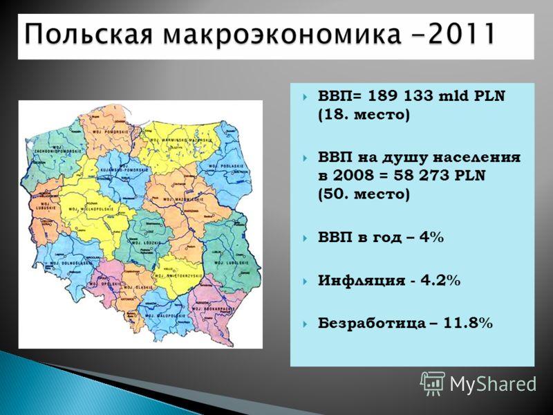 ВВП= 189 133 mld PLN (18. место) ВВП на душу населения в 2008 = 58 273 PLN (50. место) ВВП в год – 4% Инфляция - 4.2% Безработица – 11.8%