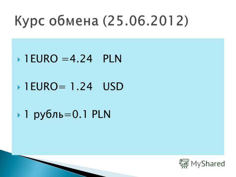 1EURO =4.24 PLN 1EURO= 1.24 USD 1 рубль=0.1 PLN