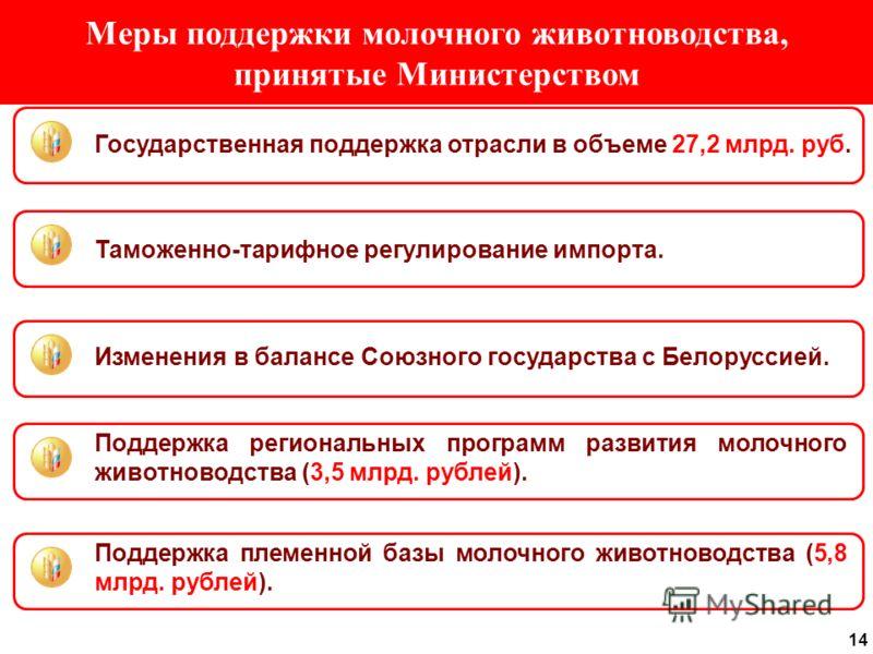 14 Меры поддержки молочного животноводства, принятые Министерством Государственная поддержка отрасли в объеме 27,2 млрд. руб. Изменения в балансе Союзного государства с Белоруссией. Поддержка региональных программ развития молочного животноводства (3