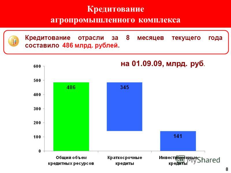 8 Кредитование агропромышленного комплекса Кредитование отрасли за 8 месяцев текущего года составило 486 млрд. рублей. на 01.09.09, млрд. руб.