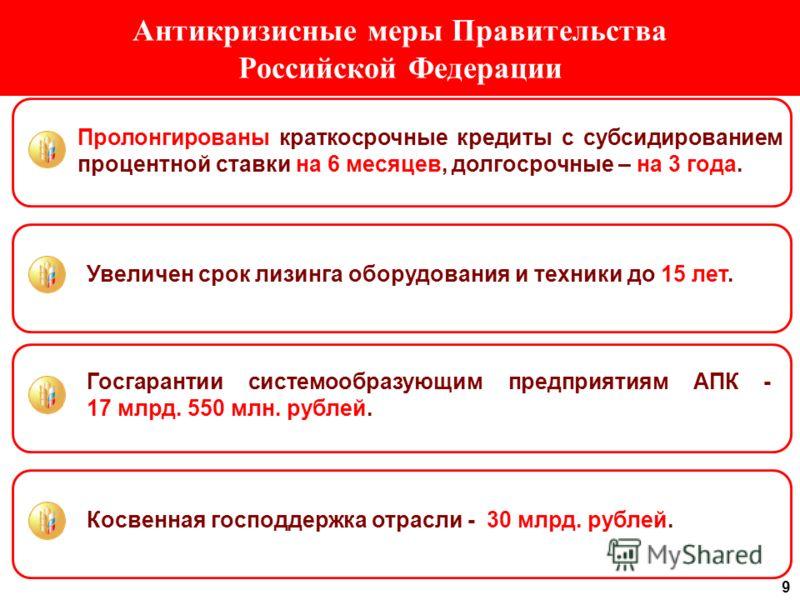 9 Антикризисные меры Правительства Российской Федерации Пролонгированы краткосрочные кредиты с субсидированием процентной ставки на 6 месяцев, долгосрочные – на 3 года. Увеличен срок лизинга оборудования и техники до 15 лет. Госгарантии системообразу