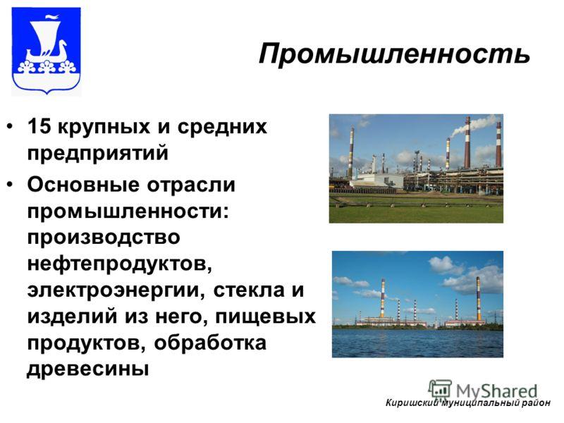 Промышленность 15 крупных и средних предприятий Основные отрасли промышленности: производство нефтепродуктов, электроэнергии, стекла и изделий из него, пищевых продуктов, обработка древесины Киришский муниципальный район