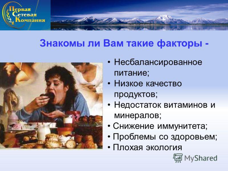 Знакомы ли Вам такие факторы - Несбалансированное питание; Низкое качество продуктов; Недостаток витаминов и минералов; Снижение иммунитета; Проблемы со здоровьем; Плохая экология
