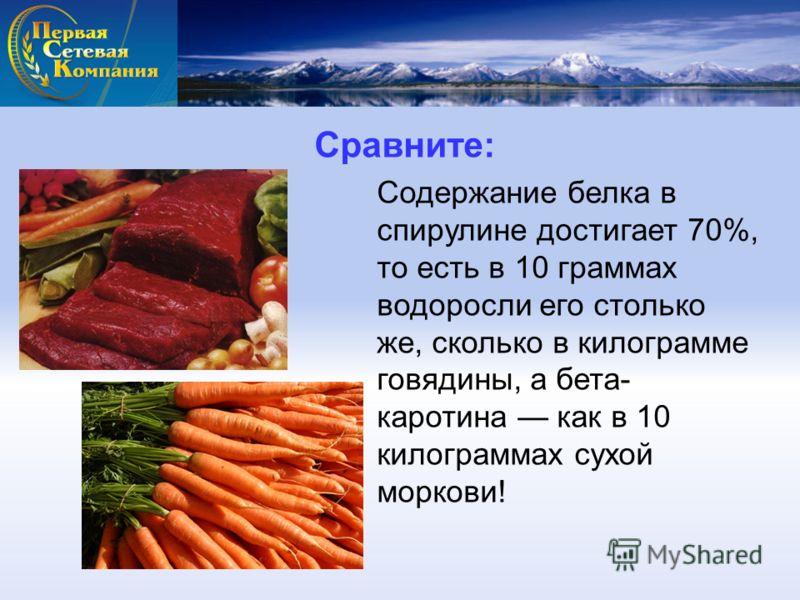 Сравните: Содержание белка в спирулине достигает 70%, то есть в 10 граммах водоросли его столько же, сколько в килограмме говядины, а бета- каротина как в 10 килограммах сухой моркови!