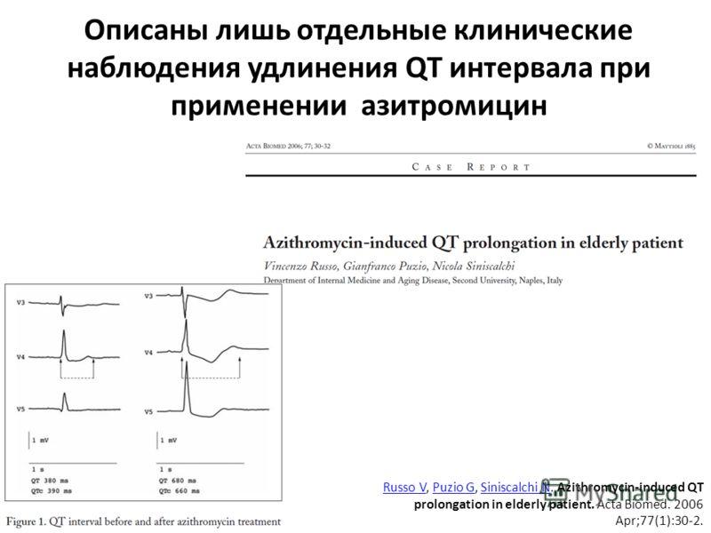 Описаны лишь отдельные клинические наблюдения удлинения QT интервала при применении азитромицин Russo VRusso V, Puzio G, Siniscalchi N. Azithromycin-induced QT prolongation in elderly patient. Acta Biomed. 2006 Apr;77(1):30-2.Puzio GSiniscalchi N