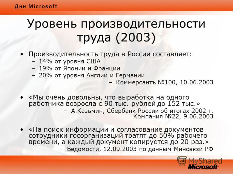 Уровень производительности труда (2003) Производительность труда в России составляет: –14% от уровня США –19% от Японии и Франции –20% от уровня Англии и Германии –Коммерсантъ 100, 10.06.2003 «Мы очень довольны, что выработка на одного работника возр
