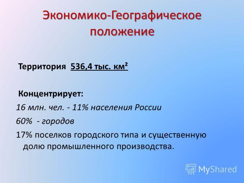 Экономико-Географическое положение Территория 536,4 тыс. км² Концентрирует: 16 млн. чел. - 11% населения России 60% - городов 17% поселков городского типа и существенную долю промышленного производства.
