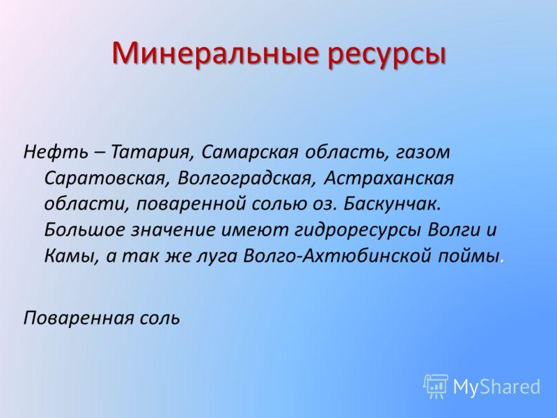 Минеральные ресурсы Нефть – Татария, Самарская область, газом Саратовская, Волгоградская, Астраханская области, поваренной солью оз. Баскунчак. Большое значение имеют гидроресурсы Волги и Камы, а так же луга Волго-Ахтюбинской поймы. Поваренная соль