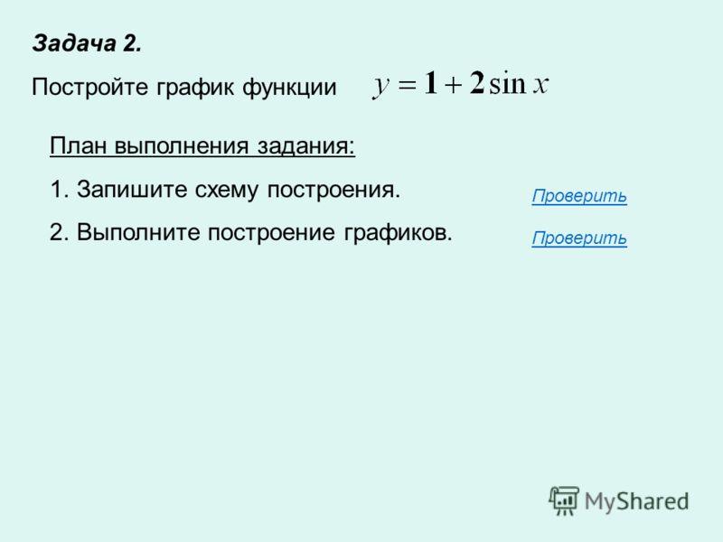 Задача 2. Постройте график функции План выполнения задания: 1.Запишите схему построения. 2.Выполните построение графиков. Проверить Проверить
