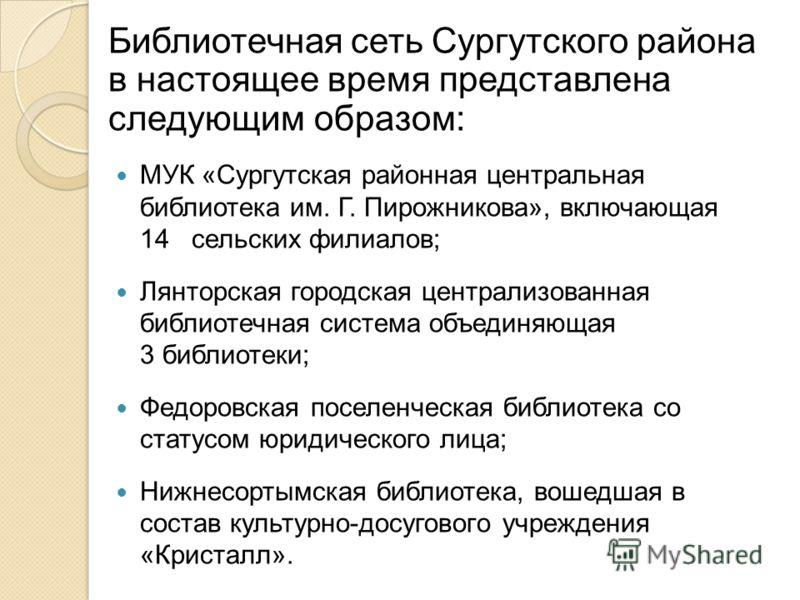 Библиотечная сеть Сургутского района в настоящее время представлена следующим образом: МУК «Сургутская районная центральная библиотека им. Г. Пирожникова», включающая 14 сельских филиалов; Лянторская городская централизованная библиотечная система об